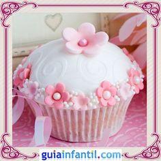 Cupcake de nata y flores para el Día de la Madre