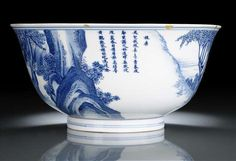 A very rare pair of blue and white porcelain bowls with scenes of the silk production, China, underglaze blue Kangxi six-character marks and period