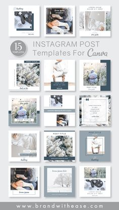 Having a selection of templates on hand for your social media strategy helps you achieve brand consistency and will definitely speed up your content creation process! I've created a set of 15 templates that are super easy to use, especially for non-designers! You can fully customize each one using a free account with Canva, either on your desktop or using their mobile app! #brandwithease #canva #instagram #canvatemplates #instagramtemplates #diymarketing #blogtemplates Feeds Instagram, Story Instagram, Instagram Design, Instagram Posts, Instagram Feed Layout, Social Media Template, Social Media Design, Frozen Photos, Graphisches Design
