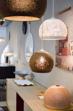 SpongeUp! ceramic pendant lamps. Handmade in Spain. Design by Miguel Ángel Garcia Belmonte. Photo credits: Noes Design  #interiordesign #lightingdesign #handmade #nordicdesign #ceramic #lamp #spongeup #pott #potteryproject #design #messen2015 #lighting #pottery
