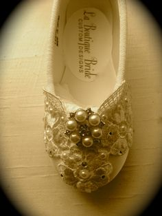 Custom Ballet Style Ivory Flower Girl Shoes Satin Beaded  Venice Lace Pearl & Crystal First Communion Victorian Style