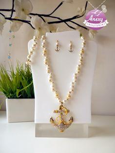 Juego marinero de perlas beige , #Collar #Aretes #Anchor #Sailor #Necklace