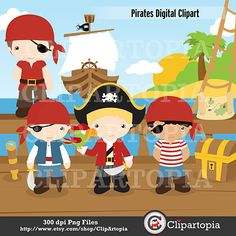 Piratas Digital Clipart para uso Personal y por ClipArtopia en Etsy, $5,00