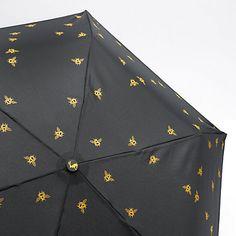 Buy Joules Bee Print Folding Umbrella, Black/Gold Online at johnlewis.com