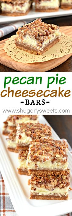 Incredibly delicious, Pecan Pie Cheesecake Bars are the perfect recipe for your holiday dessert table! A graham cracker crust, topped with cheesecake and caramely pecan pie makes this a showstopper dessert recipe!