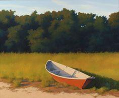Jim Holland - Present), American Artist - Red Dory - 30 x 36 Fantasy Landscape, Landscape Art, Landscape Paintings, Watercolor Paintings, Painting Art, Landscapes, Jack Vettriano, Edward Hopper, Classic Paintings