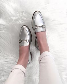 metallic loafers.