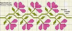 Çicek Cross Stitch Rose, Cross Stitch Borders, Cross Stitch Flowers, Counted Cross Stitch Patterns, Cross Stitch Designs, Cross Stitch Embroidery, Fair Isle Knitting Patterns, Knitting Charts, Beading Patterns Free