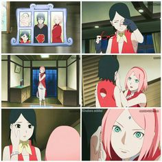 Worried Mama Sakura ❤ btw, has anyone noticed how gorgeous Sarada is without her glasses? Sasuke Sakura Sarada, Boruto And Sarada, Narusaku, Itachi Uchiha, Naruto Grown Up, Naruto Cute, Anime Naruto, Naruto Family, Boruto Naruto Next Generations