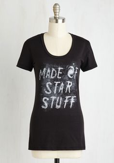 Cosmic Creations Tee. Even from worlds away, the beauty and comfort of this cotton blend tee is impossible to miss! #black #modcloth