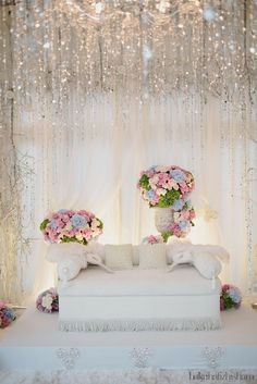 Almost Ideal Pelamin For Wedding Minus The Flower Arrangements Need To Soften It Up With White Flowers