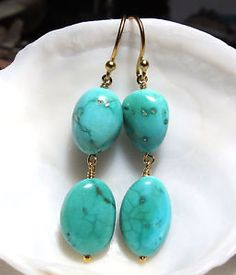 STUNNING-24K-GOLD-VERMEIL-SLEEPING-BEAUTY-BLUE-GREEN-TURQUOISE-EARRINGS-NATURAL