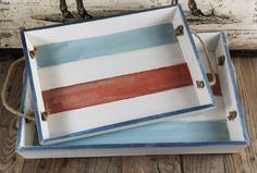 Two Piece Distressed Wood Serving Tray Set -- Great for 4th of July!