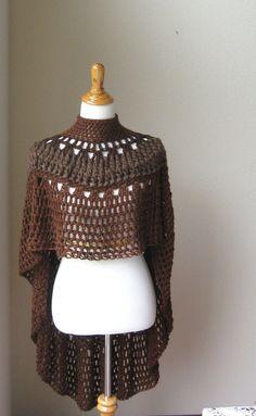 CROCHET PONCHO SHAWL Brown Fashion Boho Circle Vest by marianavail, $87.00