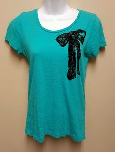 J. Crew XS blue top tee black velvet bow accent shirt cotton casual lightweight #JCrew #KnitTop #Casual