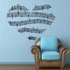 <3  Music Notes Stave Love Heart Wall Decal