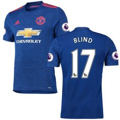 Daley Blind Manchester United adidas 2016/17 Authentic Away EPL Badge Jersey - Royal