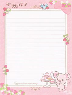 "San-X Piggy Girl ""Sweets"" Letter Set"