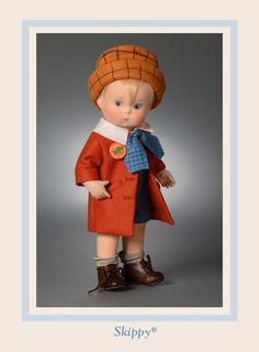 R John Wright Collectible Dolls Skippy Percy Crosby Comic Strip Character Christopher Robin, Antique Dolls, Vintage Dolls, Raggy Dolls, John Wright, Flower Fairies, Doll Maker, Boy Doll, Soft Dolls