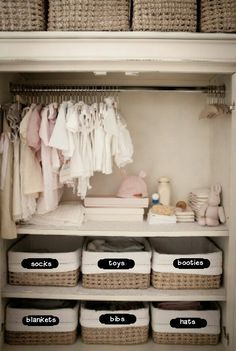 I love how the baskets are used in this closet.  The big pro to baskets/bins is that it doesn't matter if stuff gets messy inside the bin!  You can just pull that sucker down, rummage around in it, and put it back and your closet still looks great!