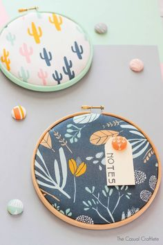 Embroidery Hoop Cork Memo Board and Thumbtacks - easy and cute craft project for the office, craft room, or kids' bedroom.