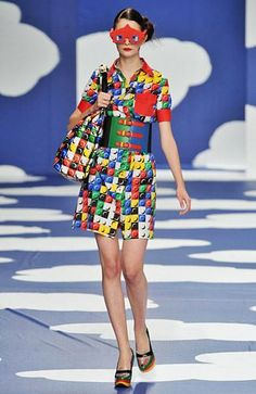 Not exactly LEGO friends fasion, but WOW! Multi-color 'Lego' dress - Jean-Charles DE CASTELBAJAC