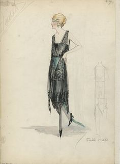 """""""Evening Dress, Doucet, Fall 1920.  Black lace or net dress with green under skirt and green train; hem with several points; sleeveless v-neck bodice. (Bendel Collection, HB 036-48)"""", 1920. Fashion sketch. Brooklyn Museum, Fashion sketches. (Photo: Brooklyn Museum, SC01.1_Bendel_Collection_HB_036-48_1920_Doucet_SL5.jpg)"""