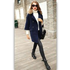 Winter Outfits Women, Fur Collars, Wool Coat, Coats For Women, Wool Blend, Fabric, Jackets, Stuff To Buy, Clothes