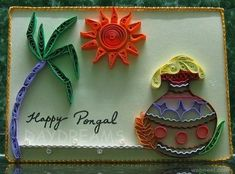 25 Beautiful Pongal Greeting Cards and Design ideas in Tamil Paper Quilling Flowers, Quilling Cards, Sankranti Wishes Images, Pongal Greeting Cards, Happy Pongal Wishes, Cow Craft, Christmas Tree Cards, Art Template, Templates
