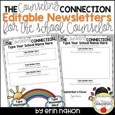 Editable School Counselor Newsletter Templates 2nd Version