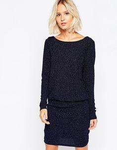 Selected+Farki+Longsleeve+Dress+in+Blue+Shimmer