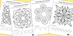 Rangoli Pattern Pencil Control Worksheets