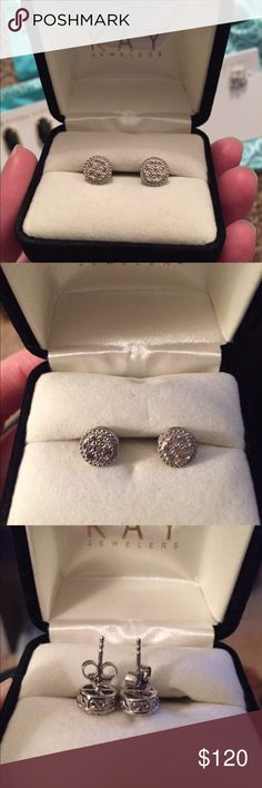 Kay Jewelers Silver Pave Earrings Brand new in box. Open to offers. Kay Jewelers Jewelry Earrings