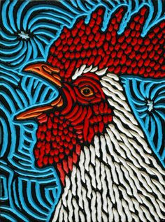 "rooster | painted woodcut block on salvaged Birch 7.5"" x 10""… 