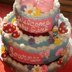 DIY Baby Smurfette Baby Shower ( cake, baby girl, blue, red, pink ) Unique Shower Themes