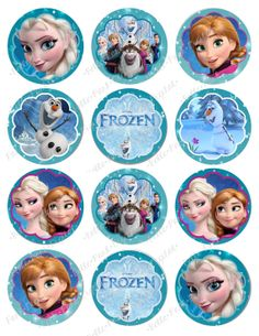 Digital Frozen Printable Birthday Party Cupcake Toppers 3 inch and 2.5 inch
