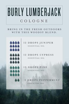 Men's Cologne Bring in the fresh outdoors with this woodsy essential oil blend by creating our Burly Lumberjack DIY cologne for men!Bring in the fresh outdoors with this woodsy essential oil blend by creating our Burly Lumberjack DIY cologne for men! Essential Oil For Men, Juniper Essential Oil, Essential Oil Perfume, Doterra Essential Oils, Young Living Essential Oils, Oils For Men, Perfume Oils, Man Perfume, Tips