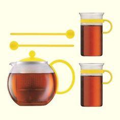 Genuine Bodum Assam Tea Set Tea Press Glass Mugs Spoons Yellow European Pressed Glass, Spoons, Tea Set, Mugs, Yellow, Ebay, Tumblers, Tea Sets, Mug