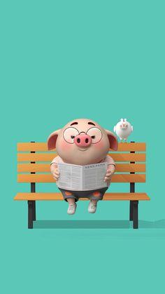 Pig Wallpaper, Funny Phone Wallpaper, Disney Wallpaper, Wallpaper Backgrounds, This Little Piggy, Little Pigs, Cute Piglets, Pig Illustration, Funny Pigs