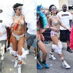 Rihanna at Barbados Kadooment Day Parade 2013 wearing Zulu International Legends costume, Versace sunglasses, adidas sneakers