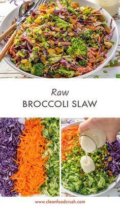 Delicious Raw Broccoli Slaw to Eat Clean! Delicious Raw Broccoli Slaw to Eat Clean! Raw Vegan Recipes, Clean Eating Recipes, Veggie Recipes, Whole Food Recipes, Vegetarian Recipes, Healthy Eating, Healthy Recipes, Clean Foods, Broccoli Slaw Recipes