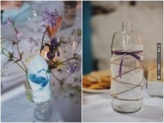 rustic DIY decor using bottles, twine, lace, ribbons & buttons | CHECK OUT MORE IDEAS AT WEDDINGPINS.NET | #weddings #diyweddings #diy