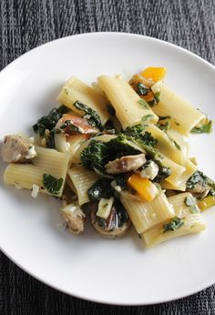 Rigatoni with Chicken Sausage and Greens is a hearty and healthy pasta recipe.