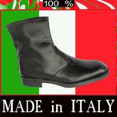 STIVALI UOMO stivaletti SCARPE CLASSICHE vitello +  pelle , - 50%  MADE IN ITALY
