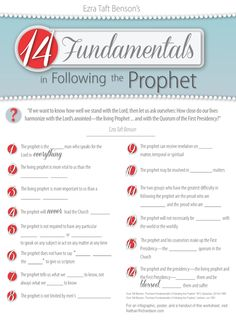 Fourteen fundamentals in following the prophet: Lesson materials | NathanRichardson.com