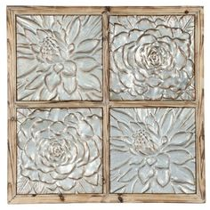 earth de fleur homewares four squares timber metal rustic wall decor - Outdoor Metal Wall Decor