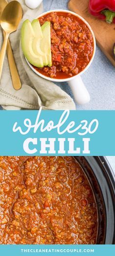 This Whole30 Paleo Chili recipe is an delicious, healthy meal made in the crockpot or instant pot. Loaded with veggies- it's easy to make and yummy! This healthy chili recipe is great for serving over cauliflower rice for a Whole30 option, regular rice, tortilla chips or just on it's own! Make it with turkey, beef or chicken! #paleo #whole30 #glutenfree #dairyfree #whole30recipes #healthy #paleo #chili #turkey Healthy Turkey Recipes, Healthy Chili, Healthy Gluten Free Recipes, Healthy Crockpot Recipes, Healthy Meal Prep, Chili Recipes, Whole30 Recipes, Lunch Recipes, Dinner Recipes