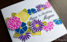 Birthday card using Designs by Georgina Floral Silhouettes stamp set and WOW Embossing powders. More details on my blog - http://designsbygeorgina.blogspot.co.uk/2016/05/happy-birthday-megan.html