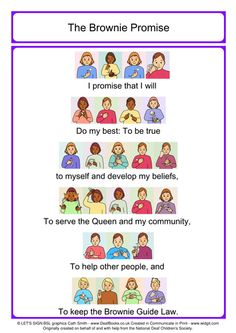 Brownie Guide Promise with BSL signs (British Sign Language) in colour...