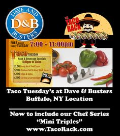 Dave & Busters of Buffalo NY, was looking to improve their Mini Taco platter. The Chef found just what he was looking for in our Taco Rack Chef Series Mini Triples. Chain restaurants and the independent restaurant owners all  want the same American Made quality they found at The Taco Rack.  www.TacoRack.com